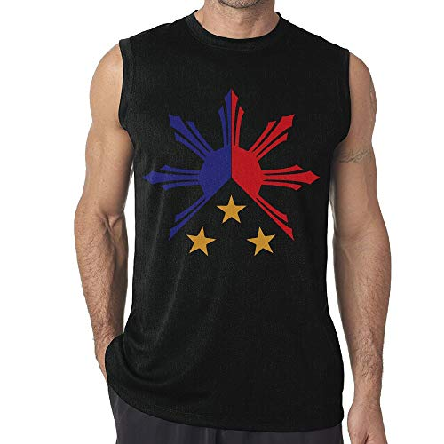 (Mens Tribal Philippines Filipino Sun and Stars Flag Sleeveless T-Shirts Sleeveless Singlet for Exercising Black)