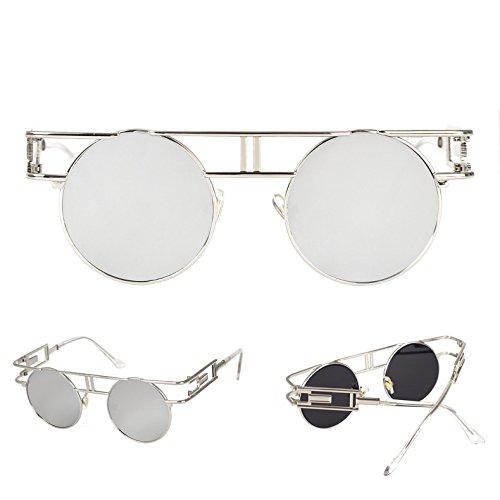 Lente Libre al sol Reflectoras plata de de Sunglasses plateado aire Hombre Steampunk plata góticas Gafas wvqf4B0