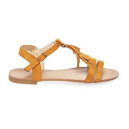 La Modeuse - Sandalias de vestir para mujer amarillo