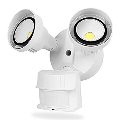 CINOTON LED Infrared Motion Sensor Light Outdoor 20W, 2 Head, White, Crystal White Glow 5000K