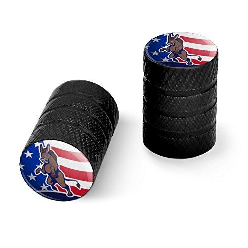 オートバイ自転車バイクタイヤリムホイールアルミバルブステムキャップ - ブラック怒っている民主党ロバの政治アメリカの旗
