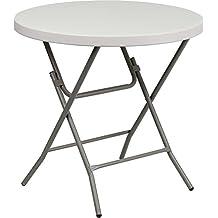 Flash Furniture RB-32R-GW-GG  32-Inch Round Granite White Plastic Folding Table