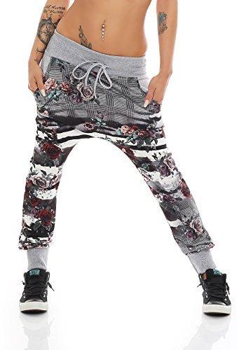 ZARMEXX damas Jogpants coloridos pantalones del ocio pantalones de chándal de impresión floral basculador holgada del novio Un tamaño gris