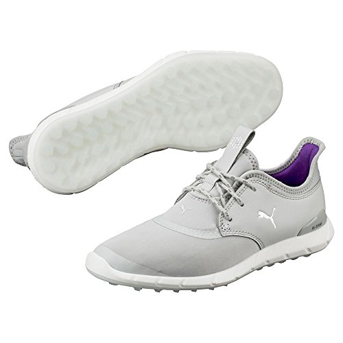 PUMA Women's Ignite Spikeless Sport Wmns Golf Shoe, Gray Violet Silver-Royal Purple, 8.5 Medium US