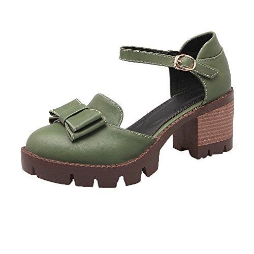 Légeres Correct À Vert Boucle Militaire Agoolar Talon Cuir Unie Femme Couleur Pu Chaussures SPX1v