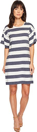 Linen Stripe Dress Shirt (Two by Vince Camuto Women's Modern Bold Striped Linen T-Shirt Dress Indigo Night Heather Medium)