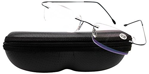 SOOLALA High End Lightweight Titanium Stainless Steel Rimless Reading Glasses, Black, 1.75x