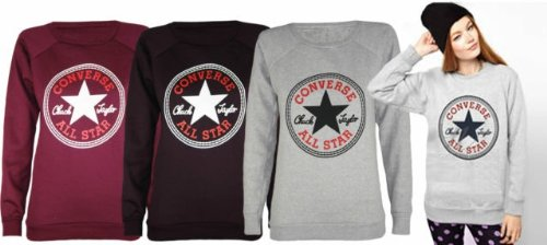 c0c52e6561ef45 WOMENS LADIES SWEATER LONG SLEEVES CONVERSE ALL STAR PRINT SWEATSHIRT JUMPER  TOP 8-14 (M L Grey UK 10-12)  Amazon.co.uk  Clothing