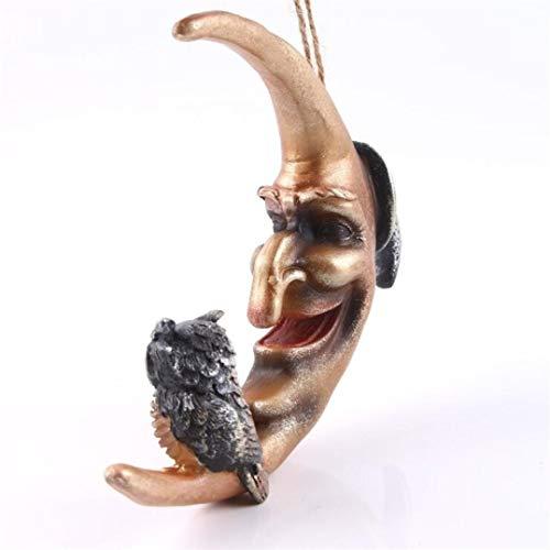 Halloween Resin Terror Moon Owl Hanging Statue Craft for Decoration Art Carving Skull Home Decor Sculpture -
