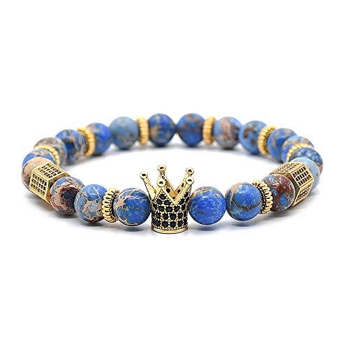 Holattio 8mm Crown King Charm Bracelet for Men Women Black Matte Onyx Stone Beads, -