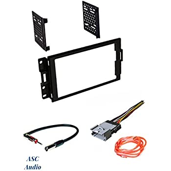 asc audio car stereo radio dash install kit, wire harness, and antenna  adapter to install a double din radio for 2004 2005 2006 2007 2008 pontiac  grand prix