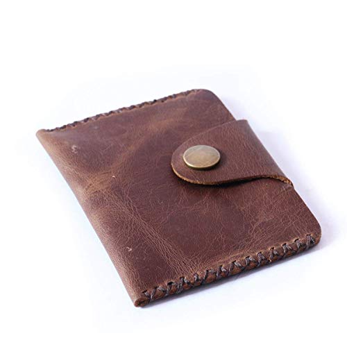 Card Case Wallet Handmade Thin Front Pocket Genuine Leather Card Holder for men women