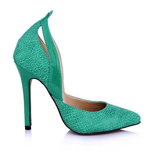 Summer PU Sole 12CM Pointed Pumps 4U Heels Sandals Shoes Premium Women's Green toe Best Rubber High 7EXaxqw