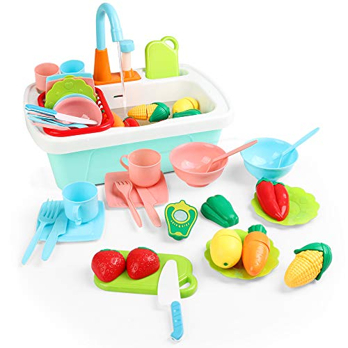 JoyGrow Kitchen Sink Toys 24PCS Pretend Play Wash Up Kitchen Toys Dishwasher Cutting Toys Kitchenware Press Water Faucet & Drain