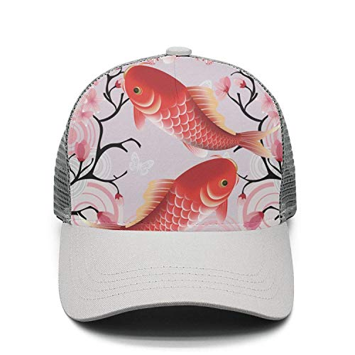 Unisex Adjustable Meshback Sandwich Hats Japan Sakura Koi Fish Snapback Trucker Caps
