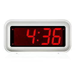 Kwanwa Cordless Small Digital Led Alarm Clock (White) Home or Portable Design | Battery Operated only | Constantly Big Red LED Numbers Display