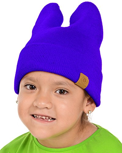 Royal Ruby Ball (Basico Baby Kids Unisex Rabbit Cat Ears Knit Beanie Cute Stretchy Warm Cap Hat (Royal Blue-012G))