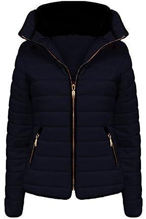 fashionchic Mujer Piel Con Cuello Con Capucha GUATEADO ACOLCHADO Acolchado Burbuja Chaqueta Abrigo Talla Reino Unido 6-14 - Azul Marino, UK SIZE L/12: ...