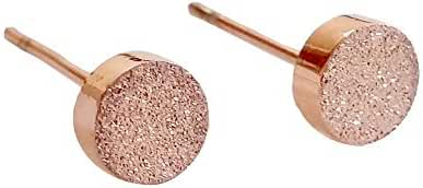 14K Rose Gold Dust Plated Stud Earring, Stainless Steel A Pair with Gift Box, 5mm Stud Earrings 001