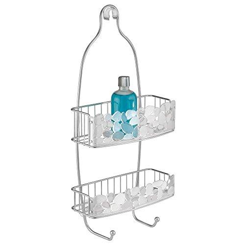 Panier de douche, mDesign Pebbles, pour shampooing, revitalisant, savon - Transparent / Argent