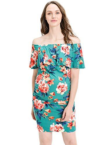 Hello MIZ Women's Floral Ruffle Off Shoulder Maternity Dress - Made in USA (Green/Coral, M) by Hello MIZ