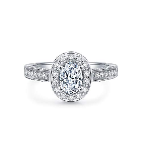 - Hafeez Center 1ct Oval Simulated Diamond Cubic Zirconia CZ Solitaire Engagement Rings Women, Rhodium Plated Sterling Silver (5.5)