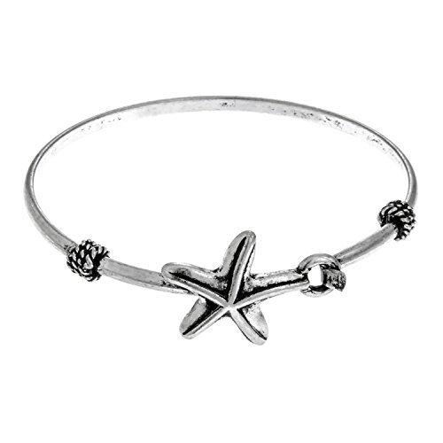[PammyJ Silvertone Single Starfish Thin Bangle Bracelet] (Easy Starfish Costume)