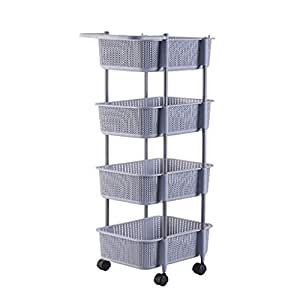 Amazon.com: XTC-YJ - Carrito de almacenamiento, 4 estantes ...