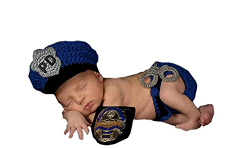 Pinbo Newborn Baby Boys Photography Prop Crochet Knitted Police Hat Diaper by Pinbo