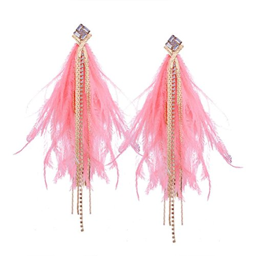 Price comparison product image Beuu 2018 Irregular Feather Fringe Diamond Earrings The Most Popular Style Endures (D)