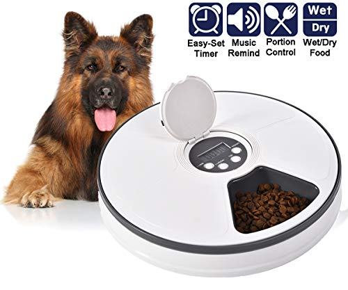 Ancaixin Automatic Timed Cat Dog Feeder with Digital Timer and Music, Electric Pet Self Portion Control Dispenser for Small Medium Large Puppy Kitten, Suits Dry and Wet Food, 6-Meal