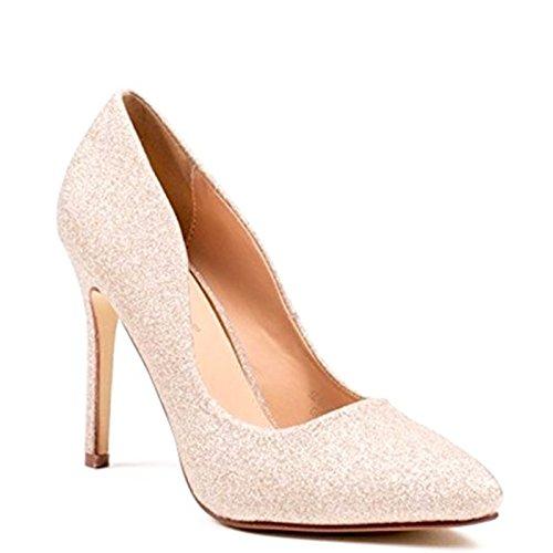 King Of Shoes Klassische Damen Stilettos Pumps High Heels Plateau Schuhe Spitz 60 Gold 09