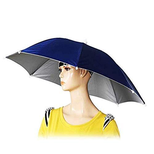 Tesco store Elastic Band Fishing Headwear Umbrella Hat (Dark Blue) -