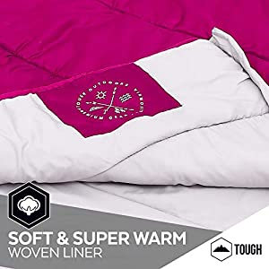 """Tough Outdoors Kids Sleeping Bag for Girls, Boys, Youth & Teens - Perfect for Children's Camping, Sleepovers & Nap Time - All Season, Lightweight & Compact - Fits Kids up to 5'1"""""""