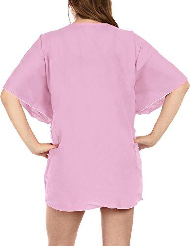 La Leela Seda artificial pura profunda v bikiní sólida cubierta elástica hasta las mujeres Rosa
