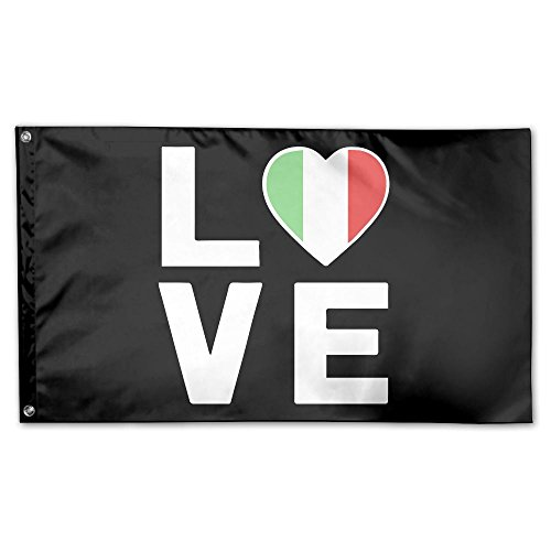 YUANSHAN Home Garden Flag I Love Italy Polyester Flag Indoor/Outdoor Wall Banners Decorative Flag Garden Flag 3' X 5' by YUANSHAN