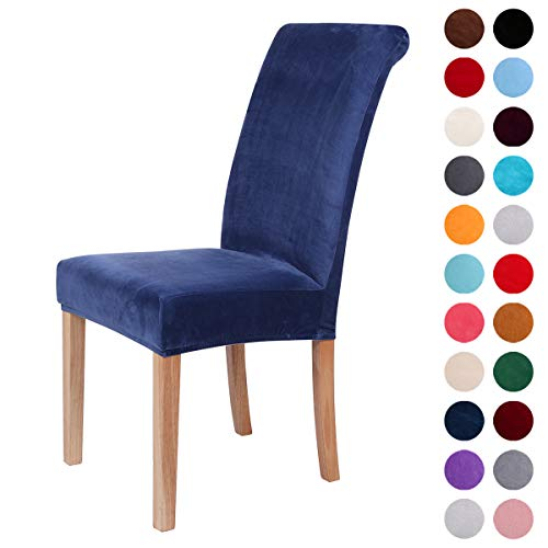 Colorxy Velvet Spandex Fabric Stretch Dining Room Chair Slipcovers Home Decor Set of 6, Navy Blue