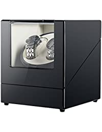 Double Watch Winder for Automatic Watches, Self Winding Watch Rotator Box, Black High Gloss Finish with Ultra-Quiet Motor