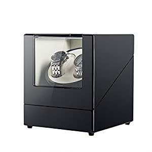 CO-Z Double Watch Winder for Automatic Watches, Self Winding Watch Rotator Box, Black High Gloss Finish with Ultra-Quiet Motor