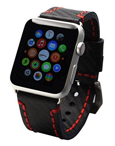 Stitching Fibers (Mestiery Genuine Leather Watch Band for 42mm Apple Watch - Carbon Fiber Embossed Pattern with Red Stitching)