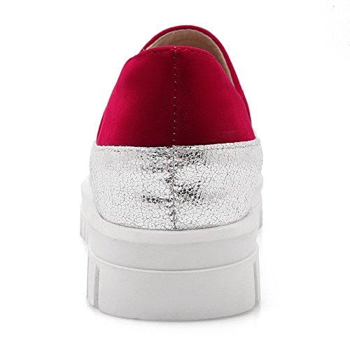 AllhqFashion Mujer Mini Tacón Colores Surtidos Sin cordones Material Suave Puntera Redonda De salón Rojo