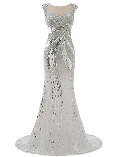 Izanoy Damen Lange Luxus Kristall Meerjungfrau Sexy Zurück Ballkleider Tüll Abendkleid Silber DE34
