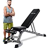 Merax Deluxe Foldable Utility Weight Bench Adjutable Sit Up AB Incline Bench Gym Equipment (Black)
