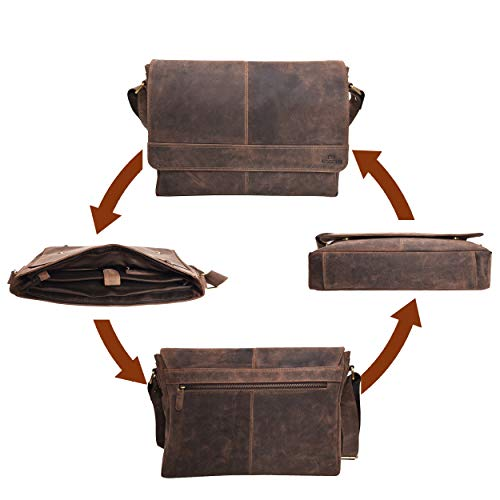 5f5721fa10 Genuine Leather Messenger Bag for Men and Women - 14 inch Laptop Bag for College  Work