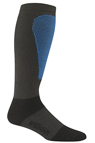Wigwam Men's Snow Sirocco Knee High Performance ski Sock,Charcoal,Sock size : Large ( shoe Size : Men's 9-12 , Women's 10-13) (Ski Performance Sock High)