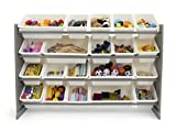 Tot Tutors WO180 Extra-Large Kid's Toy Storage Organizer w/ 20 Bins, Universal, Grey/White