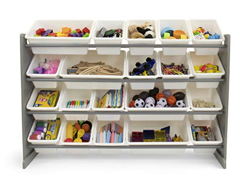 Tot Tutors WO180 Extra-Large Kid's Toy Storage Organizer w/ 20 Bins, Universal, Grey/White