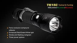 Fenix TK15C 450 Lumen Multi-Color LED (White/Red/Green) Tactical Flashlight with Fenix ARB-L2 18650 rechargeable battery, Fenix ARE-C1 Battery charger, and Two EdisonBright CR123A Lithium Batteries bundle