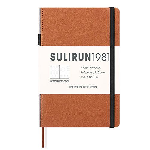 Dotted Grid Bullet Line Journal A5 Hardcover Notebook Premium Thick Paper with Pocket Banded Pen Loop, 120 gsm 160 Pages, 5.8 X 8.3(Dotted, Brown)