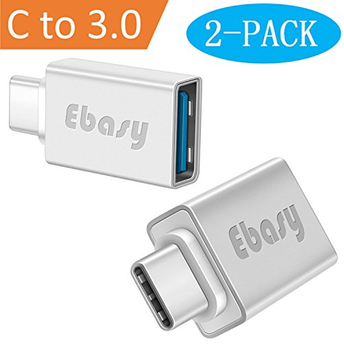 USB Type C Adapter, Ebasy USB C to USB A 3.0 OTG Adapter / C Type USB Converter for Macbook Pro, Galaxy S8 S8+,Google Pixel, Nexus 6P 5X, LG G5 G6, HTC 10, HUAWEI P9 and More(2-Pack, Silver)
